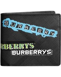 Burberry - Tag Print London Check International Bifold Wallet - Lyst
