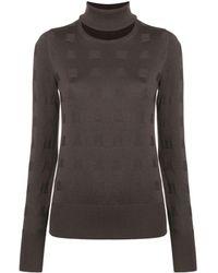 Chalayan Split neck sweater - Marron