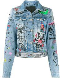 Philipp Plein Джинсовая Куртка Art 5 Graffiti - Синий
