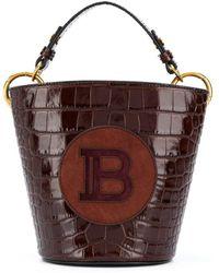 Balmain Logo-patch Saddler Bucket Bag - Multicolour