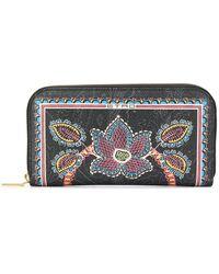 Etro Floral All-around Zip Wallet - Black