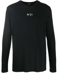 N°21 ロゴ ロングtシャツ - ブラック