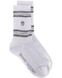 Alexander McQueen Stripe Skull Sport Socks - Metallic