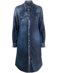 DSquared² Distressed Denim Shirt Dress - Blue