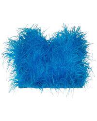 The Attico Top corto bandeau con plumas - Azul