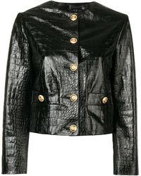 Gucci レザー ノーカラージャケット - ブラック