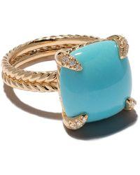 David Yurman 18kt yellow gold Châtelaine turquoise and diamond ring - Bleu