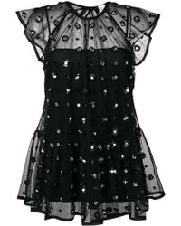 RED Valentino Декорированная Полупрозрачная Блузка - Черный