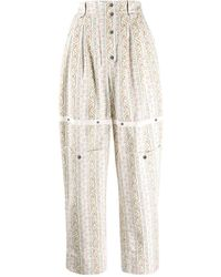 Etro Floral Paisley Print Twill Trousers - White