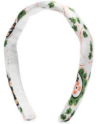 Shrimps Padded Floral Print Headband - White