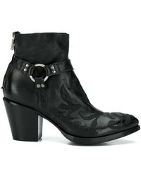Rocco P Floral-embroidery Ankle Boots - Black