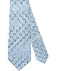 Gucci GG-patroon Zijden Stropdas - Blauw