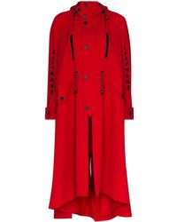 Angel Chen Toko Fuku Embroidered Asymmetric Coat - Rood
