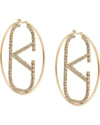 Valentino Garavani Vlogo Crystal-embellished Hoop Earrings - Metallic