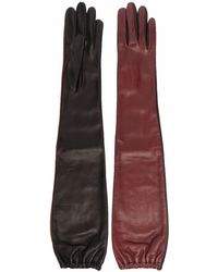 Bally Two-tone Leather Gloves - Red