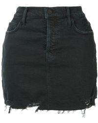 Mother - Vagabond Frayed Denim Skirt - Lyst