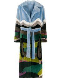 Liska Manteau imprimé à ceinture - Bleu