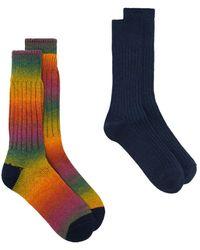 Anonymous Ism Rainbow Ribbed Socks - Blue