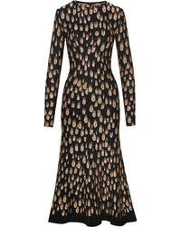 Oscar de la Renta Peacock Pattern Midi Dress - Black