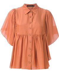 Andrea Marques Button-up Ruffled Blouse - Brown