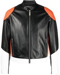 Just Cavalli カラーブロック ライダースジャケット - ブラック