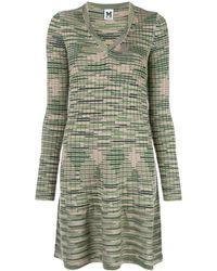 M Missoni Платье-свитер С V-образным Вырезом - Зеленый