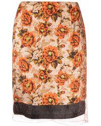 Kwaidan Editions Falda recta con estampado floral - Naranja