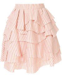 Bambah Struped Ruffle Skirt - Orange