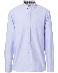 Burberry Check Cuff Cotton Oxford Shirt - Blue