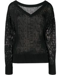 Calvin Klein Сетчатый Джемпер С Логотипом - Черный