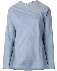 Palmer//Harding Long-sleeve Flared Blouse - Blue