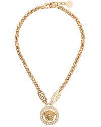 Versace Medusa Head Crystal-embellished Necklace - Metallic