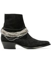Amiri Chain Embellished Ankle Boots - Zwart