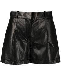 Arma High-waisted Leather Shorts - Black