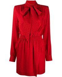 Saint Laurent - Платье С Запахом И Завязками На Воротнике - Lyst