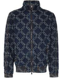 Valentino ロゴ ボンバージャケット - ブルー
