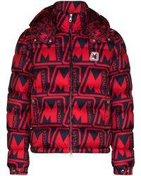 Moncler Donsjack Met Logoprint - Rood