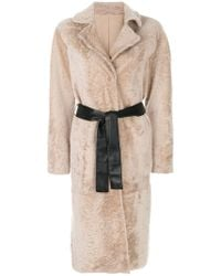 DROMe - Leather Belted Coat - Lyst