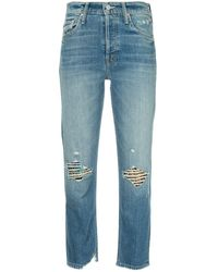 Mother Faded Straight-leg Jeans - Blauw