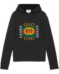 Gucci Logo Print Hoodie - Black