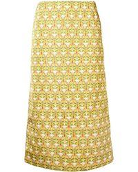 La DoubleJ Geometric Pencil Skirt - Желтый