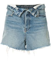 Alexander Wang Open Front Denim Shorts - Blue