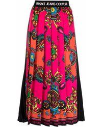 Versace Jeans Couture Falda plisada y estampada - Rosa