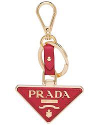 Prada Porte-clés à plaque logo - Rouge