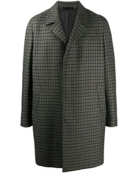 Paul Smith Однобортное Пальто В Клетку - Зеленый