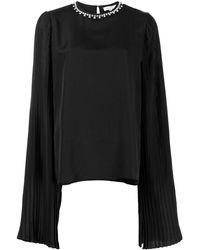 SemSem X Ramadan Crystal-embellished Pleated Top - Black