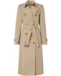 Burberry Cotton Gabardine Trench Coat - Natural