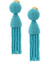 Oscar de la Renta Beaded Tassel Earrings - Blue