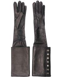 Manokhi Long buttoned cuff gloves - Schwarz