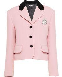 Miu Miu Tailored Wool Jacket - Pink